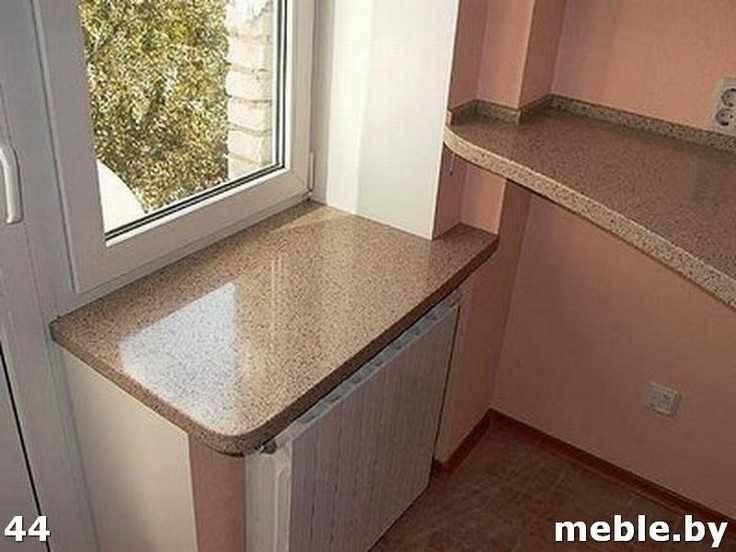 Подоконник с каменной столешницы на кухне. Мебель на заказ.