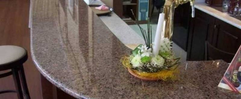 Каменная столешница для офиса, гостиницы, бара и ресторана. Мебель на заказ.