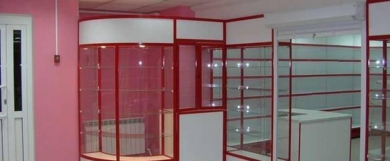 Торговое оборудование из ДСП в алюминиевом профиле. Мебель под заказ.